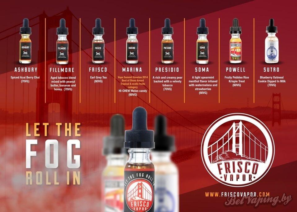 Frisco Vapor eliquid flavors