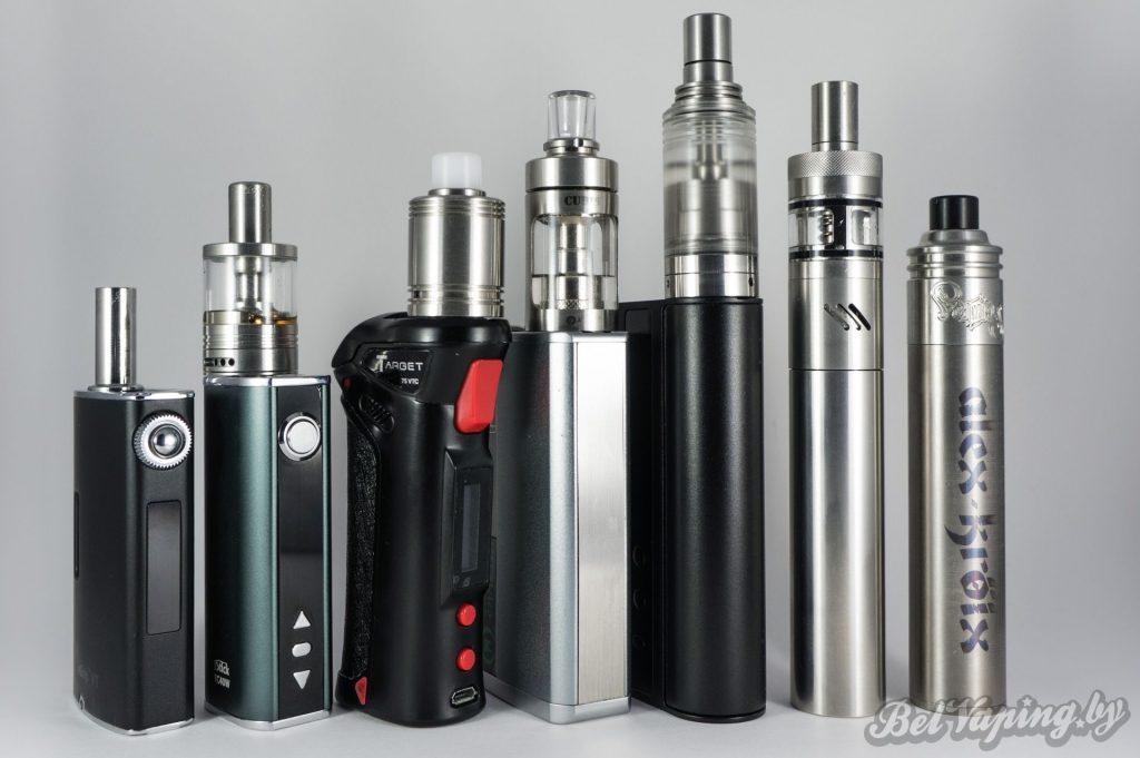 Слева направо: Joyetech eGrip VT, iStick TC40W, Vaporesso Target 75VTC, Vanguard VTC80, iStick TC100W, SMPL, Tamerlan Tour V2