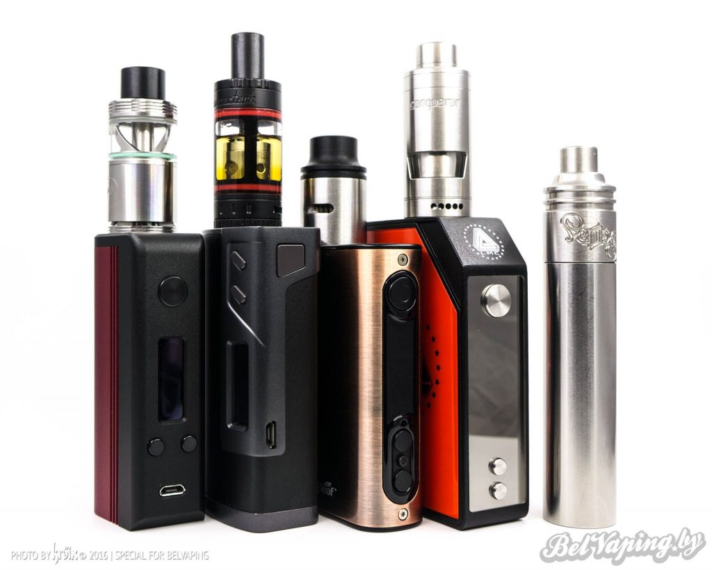 Слева направо: Боксмод Hotcig DX75, Sigelei Fuchai 213W, Eleaf iPower 80W, iJoy Limitless LMC 200W, SMPL Mod