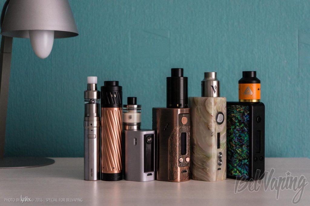 Сравнение модов (слева направо): eGo ONE, Karma Kit, Wismec Reuleaux RXmini, Wismec DNA 200 Bronze, Dmovpo ST-80, Hotcig R150