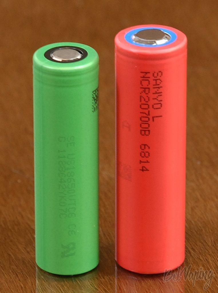 Аккумулятор 20700 рядом с аккумулятором 18650