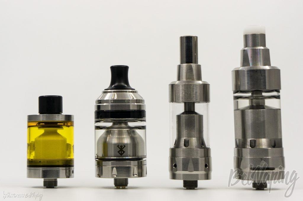 Слева направо: Pico RTA, Berserker MTL RTA, Kayfun 3 Mini, Kayfun 5