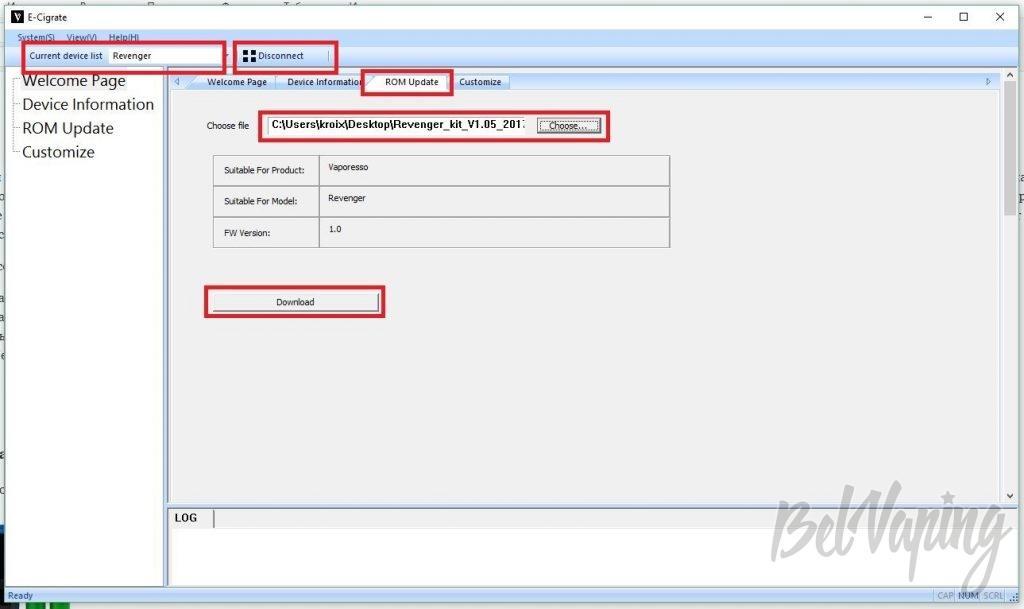 Экран программы для обновления прошивки Vaporesso Revenger 220W