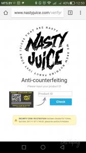 Проверка оригинальности жидкости Nasty Juice на официальном сайте
