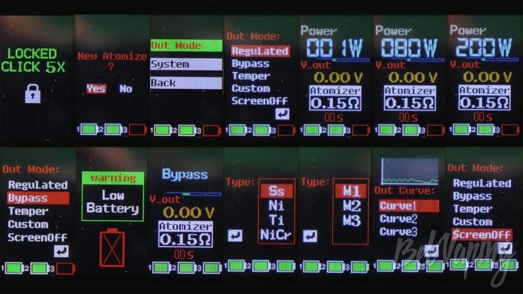 Vaptio N1 PRO 240W - Информация на экране