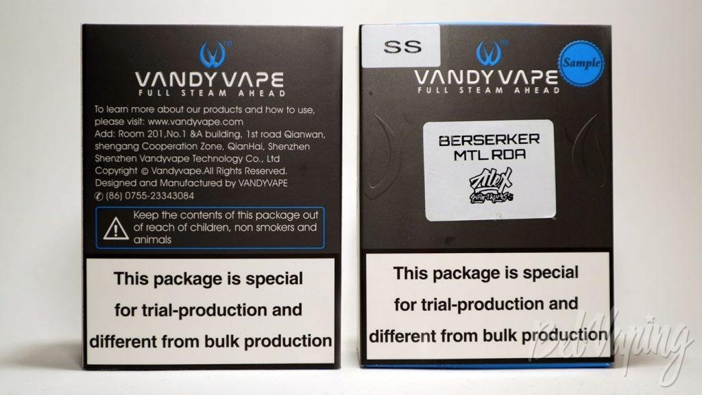 Vandy Vape BERSERKER MTL RDA - упаковка