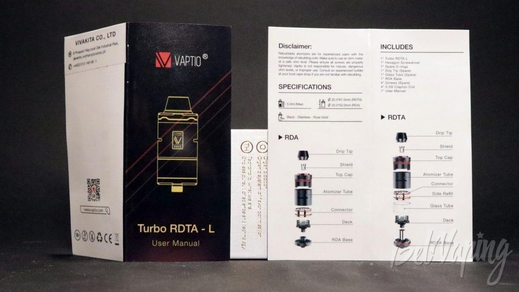 Vaptio TURBO RDTA-L - краткая инструкция