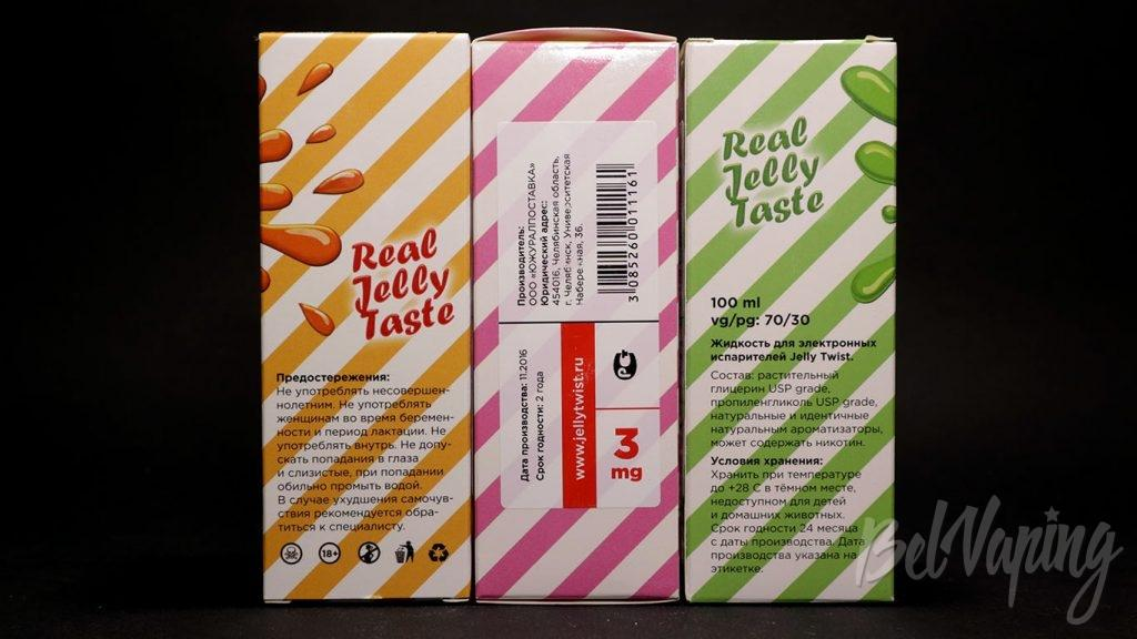 Жидкости Jelly Twist - информация на упаковке