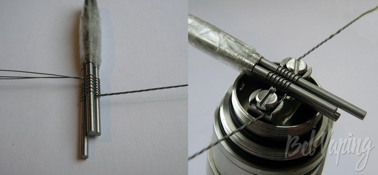 Соединение спиралей и установка в атомайзер