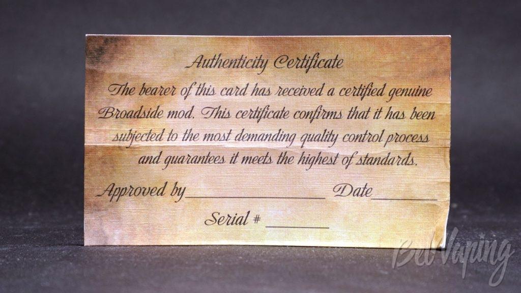 Broadside ADMIRAL MOD (clone) - сертификат подлинности