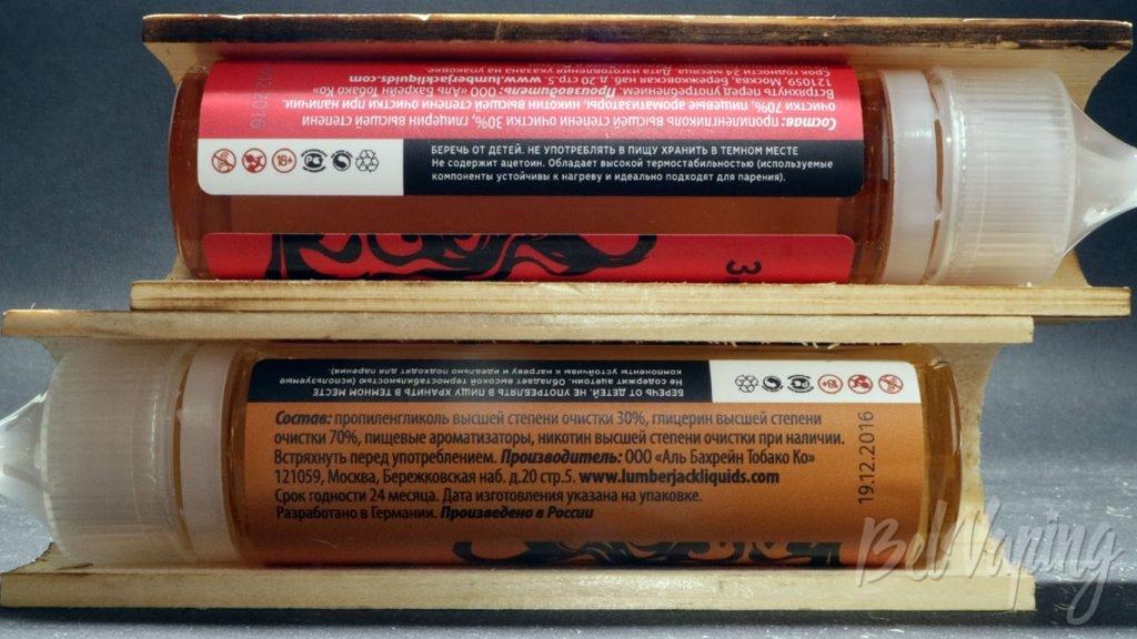 Жидкости LUMBERJACK - информация на этикетках
