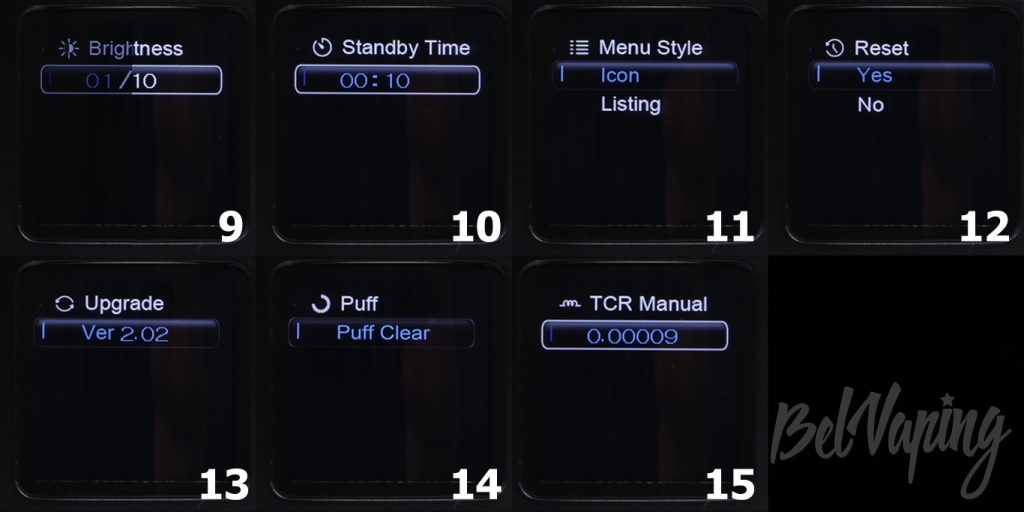 Ovanty VEGA 200W MOD - элементы меню