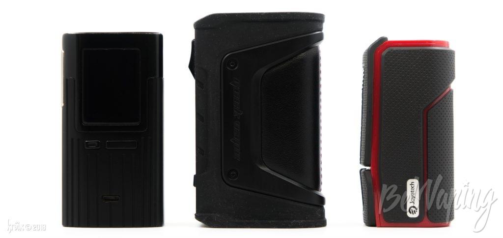Сравнение размеров (слева направо): Joyetech ESPION 200W, Geekvape Aegis Legend Mod и Joyetech ESPION Silk