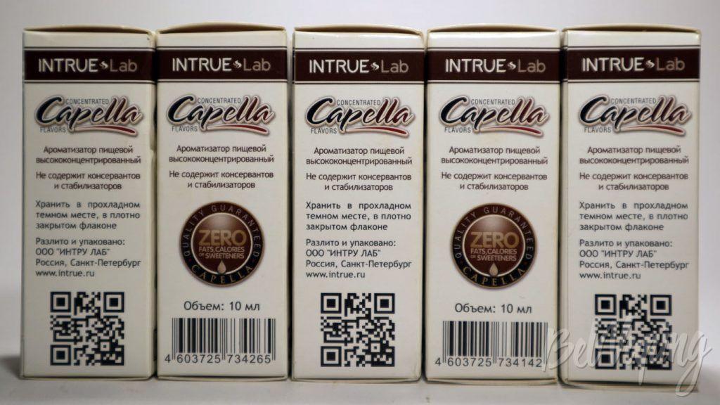 Ароматизаторы Capella от INTRUE Lab - информация на упаковке