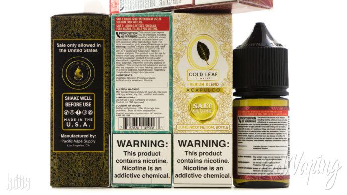 Упаковка жидкости Gold Leaf SALT