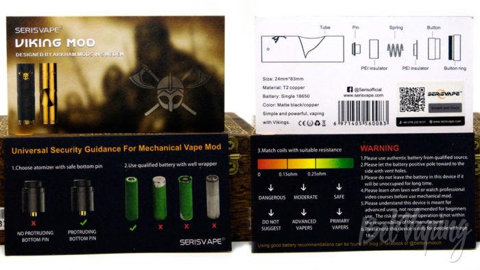 Serisvape VIKING MOD - инструкция и предупреждения
