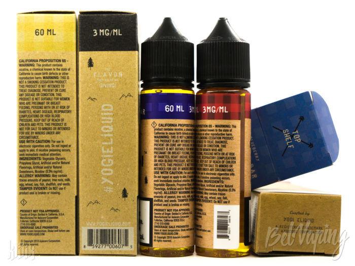 Упаковка и этикетка жидкости Yogi Eliquid
