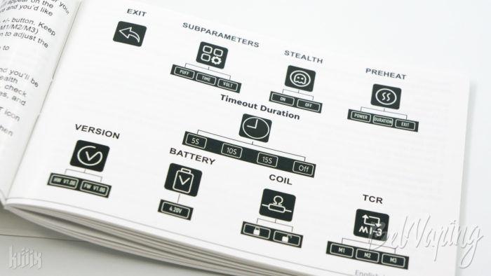 Пункты меню iStick Pico X