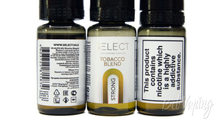 Жидкость SELECT Low Heating Tobacco - информация на этикетке