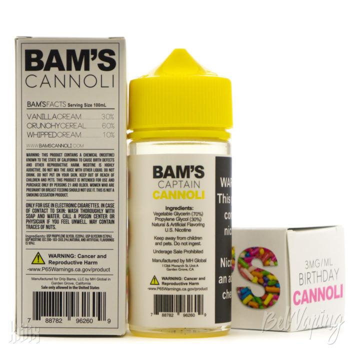 Упаковка и этикетка флакона BAM'S CANNOLI