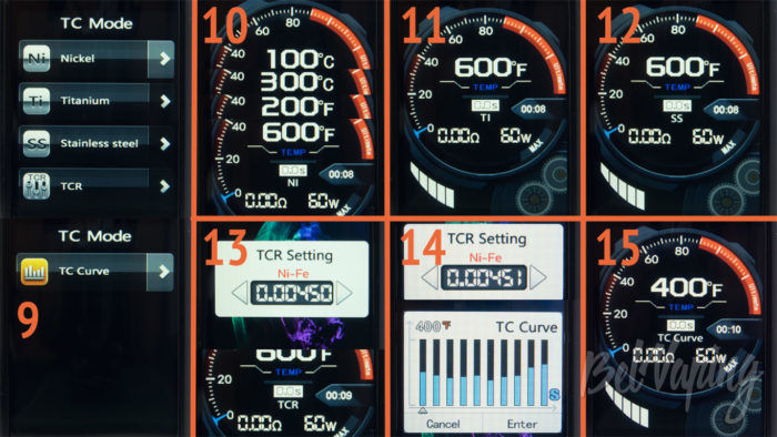 Smoant NABOO 225W mod - интерфейс термоконтроля