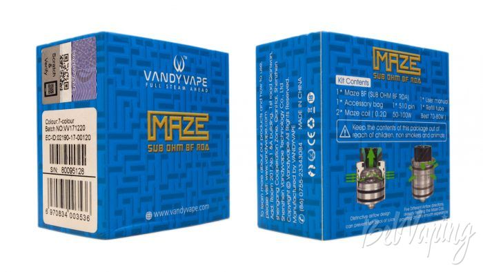 VandyVape MAZE Sub Ohm BF RDA - упаковка
