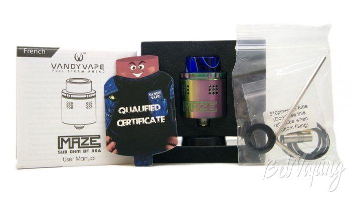 VandyVape MAZE Sub Ohm BF RDA - комплект поставки