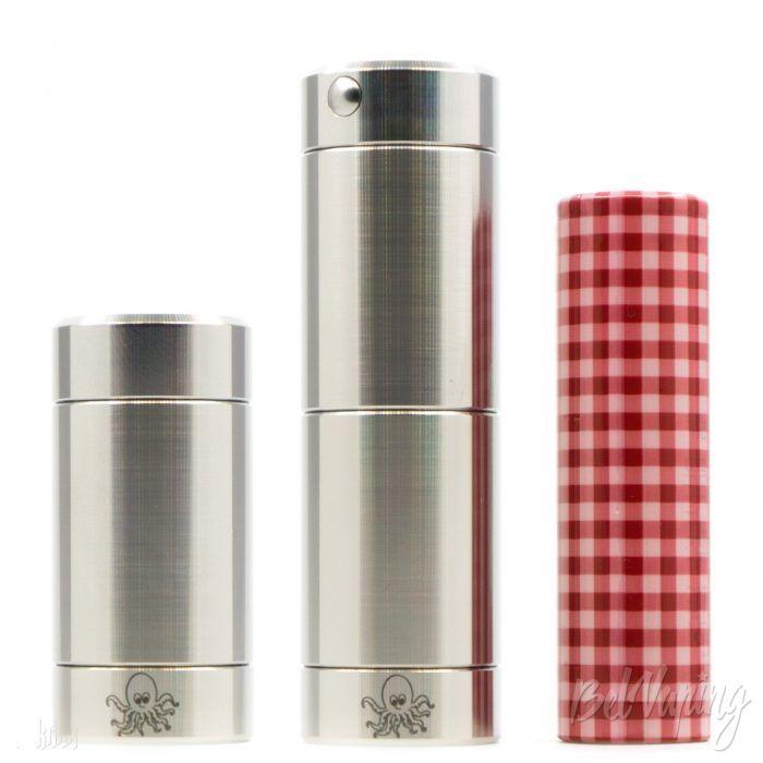 Внешний вид Cthulhu Tube Mod для 18350 (слева), 18650 и аккумулятор 18650