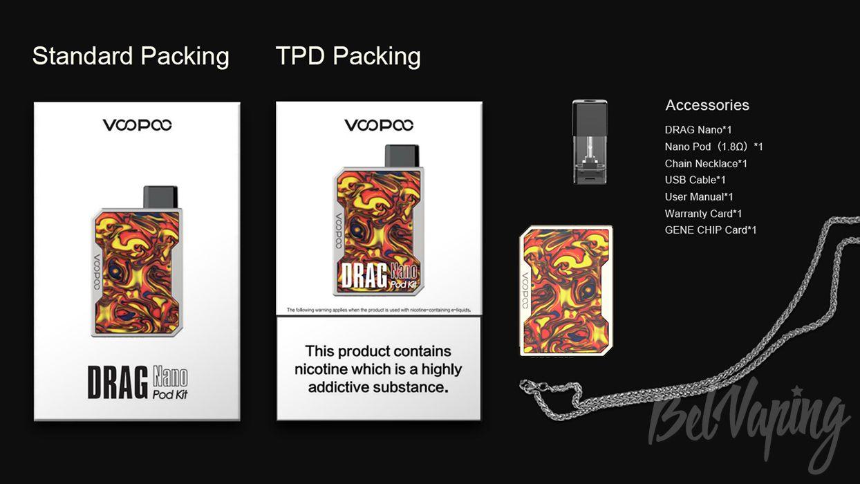 Комплектация Voopoo Drag Nano Pod