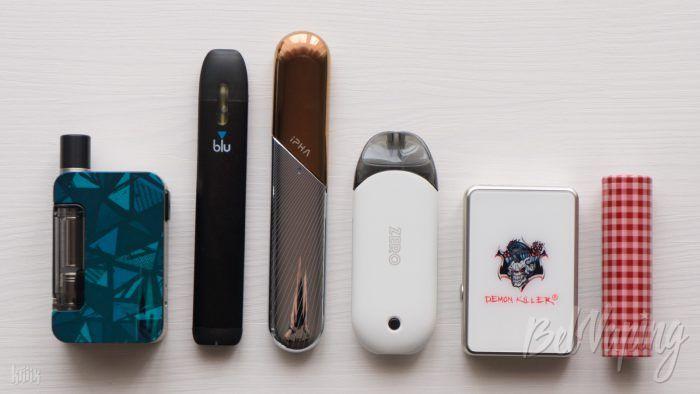 Сравнение размеров (слева направо): Exceed GRIP, myblu, IPHA Swiss Pod, Renova Zero, JBOX и аккумулятор 18650