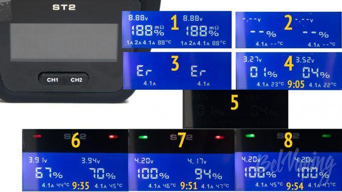 Зарядное устройство XTAR ST2 - индикация