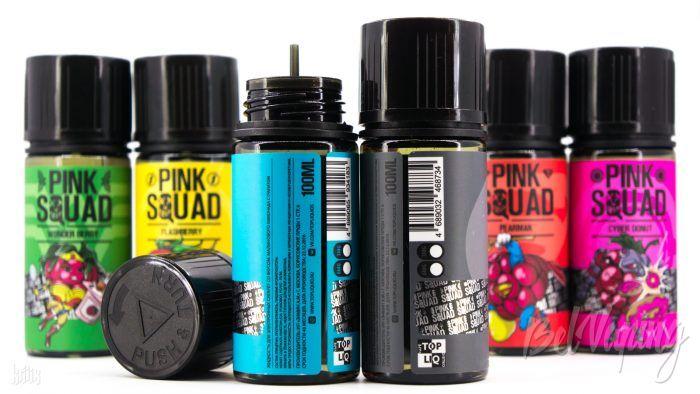 Тара и этикетка жидкости Pink Squad от Top Liquid