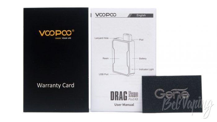 Voopoo DRAG NANO P1 POD KIT - содержимое конверта