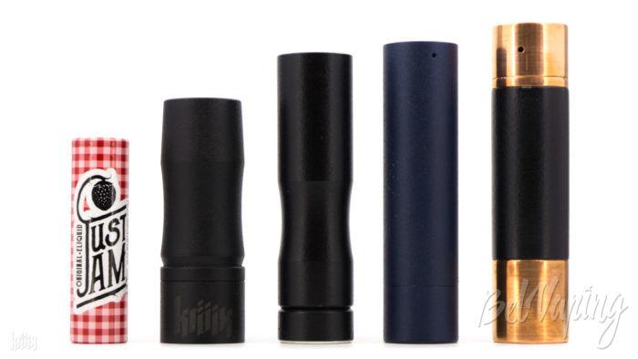 Сравнение размеров (слева направо): аккумулятор 18650, Holy Bullet, Aera Mod, RCM V2, Hustec HYPE