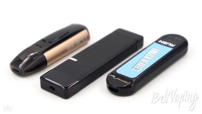 Сравнение размеров (слева направо): Justfog Minifit, QWIN Nebulizer, Rush Disposable Pod