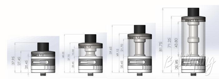 Внешний вид и размеры Aromamizer Plus RDTA от Steam Crave в разными расширителями