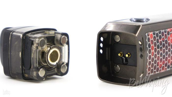 Жидкость на батарейном блоке под картриджем Voopoo Vinci X Mod Pod