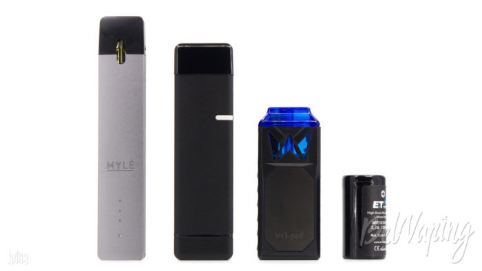 Сравнение размеров (слева направо): MYLE, QWIN от District F5VE, Wi-Pod X Kit от Smoking Vapor, аккумулятор 18350