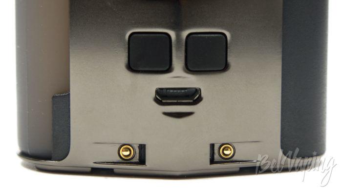 Wotofo DYADIC Box Mod - кнопки управления и зарядный слот