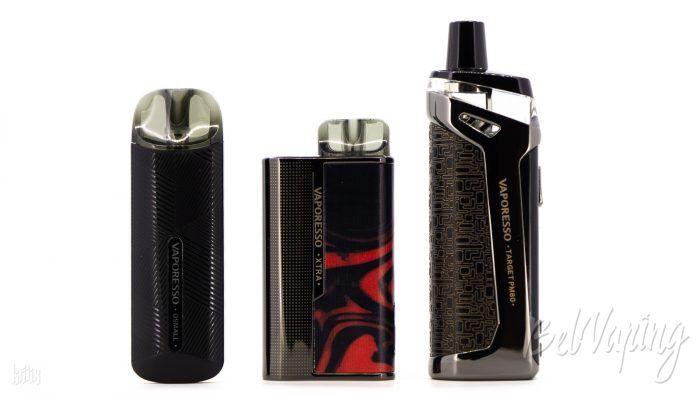 Сравнение размеров (слева направо): Vaporesso OSMALL, Vaporesso XTRA, Vaporesso Target PM80